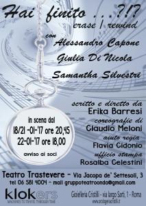 """""""Hai finito…?!? Erase / Rewind"""" una storia d'amore e musica al Teatro Trastevere @ Teatro Trastevere"""