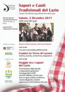 Il Lazio si celebra tra sapori e colori e canzoni il 2 dicembre al Mercato Agricolo