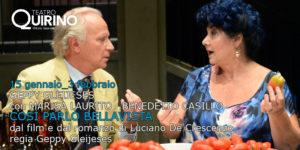 """""""Così parlò Bellavista"""", dal film allo spettacolo con Marisa Laurito e Geppy Gleijeses"""