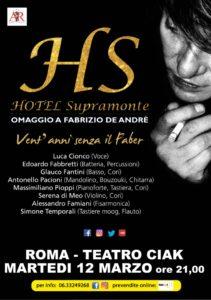 """Vent'anni senza De Andrè, al Ciak di Roma """"Hotel Supramonte"""", una serata dedicata a Faber"""